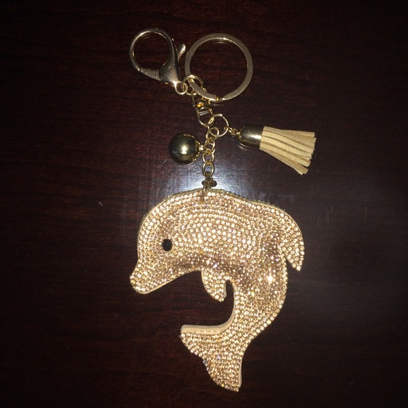 Accessories - Rose Gold Dolphin Keychain Luggage Tag Tassle Clip